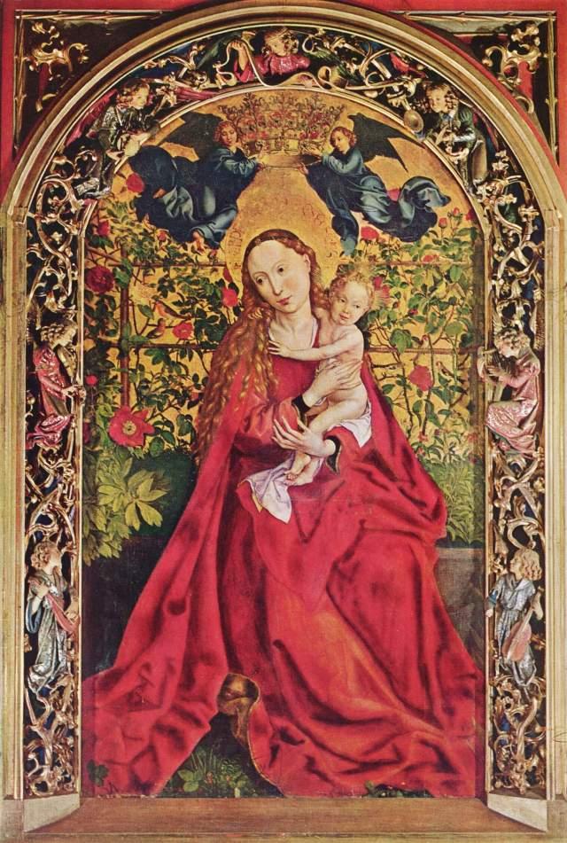 Madonna im Rosenhag Martin Schongauer, 1473 Mischtechnik auf Holz, 200 cm × 115 cm Dominikanerkirche Colmar