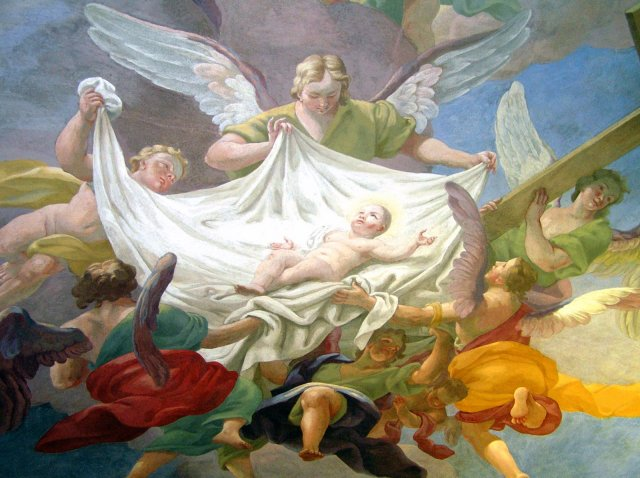 The Glory of the new born Christ Child, ca 1715, Ceiling fresco - St Anna, Vienna