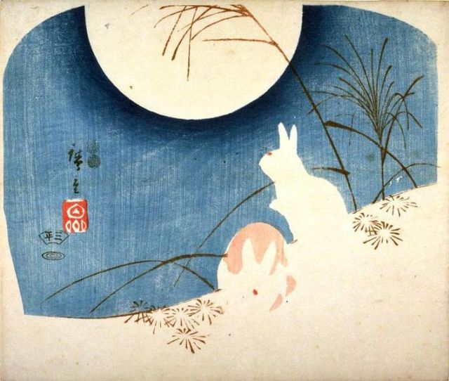 707px-Untitled,_Two_Rabbits,_Pampas_Grass,_and_Full_Moon_(Hiroshige)
